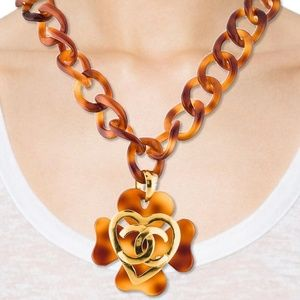 CHANEL Vintage 1995 Tortoise Shell Chain Necklace.